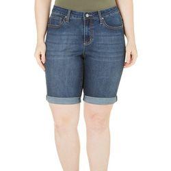 New! Earl Jean Womens Roll Cuff Bermuda Jean