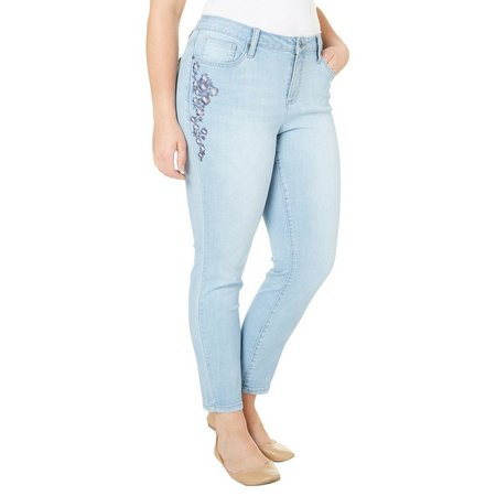 Earl Jean Plus Floral Embroidered Jeans