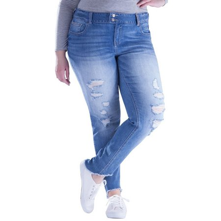 Amethyst Juniors Plus Skinny Raw Hem Jeans