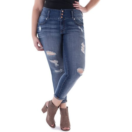 Ariya Juniors Plus Curvey Distressed Ankle Jeans