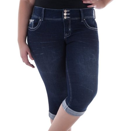 Amethyst Junior Plus Denim Crop Bermuda Shorts