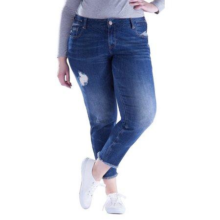 Amethyst Juniors Plus High Rise Fringe Jeans