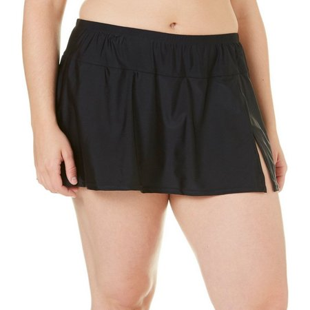 Caribbean Joe Plus Solid Front Split Swim Skirt