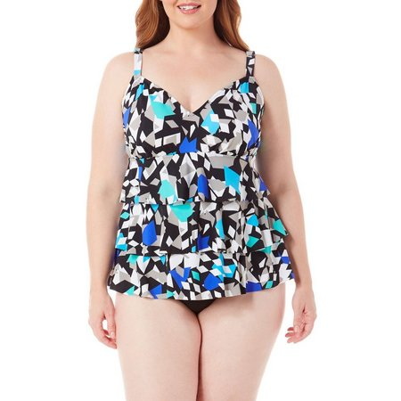 Paradise Bay Plus Color Angles One Piece Swimsuit