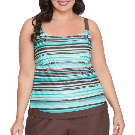 Beach Diva Plus Sunset Stripe Tankini Top