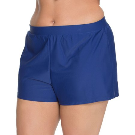 Beach Diva Womens Signature Solid Swim Shorts