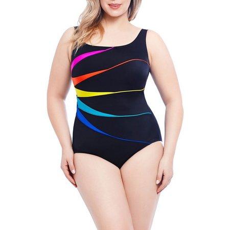 Longitude Plus Piping Fan One Piece Swimsuit