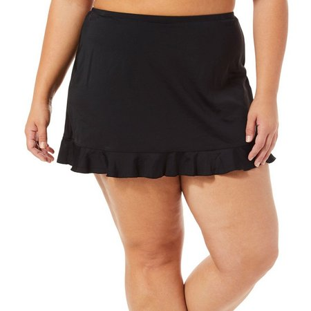 A Shore Fit Plus Ruflled Hem Swim Skirt
