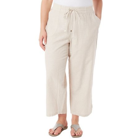Hearts of Palm Plus Embellished Linen Cargo Pants