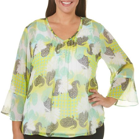 Hearts of Palm Plus Paisley Dots Sheer Top