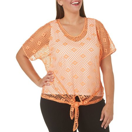 Hearts of Palm Plus Mesh Tie Front Top