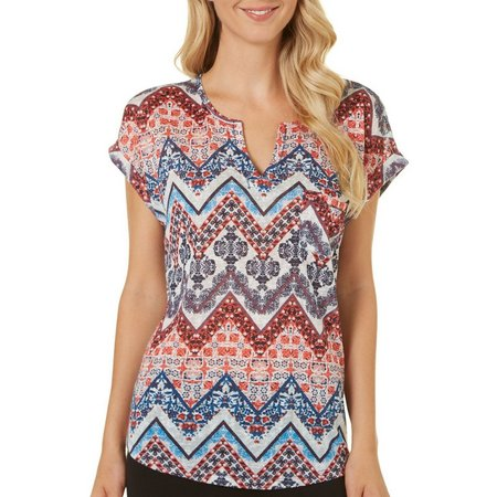 Dept 222 Petite Mixed Chevron Pattern Cap Sleeve