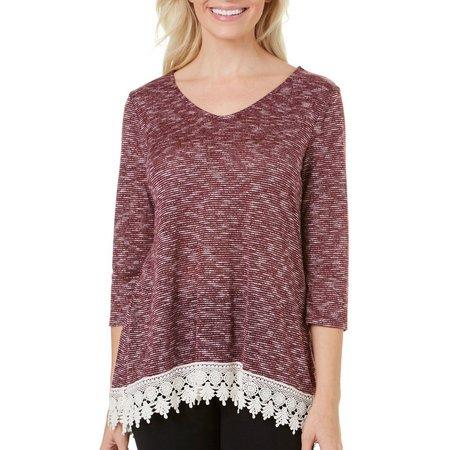 Dept 222 Petite Space Dye Lace Sweatshirt