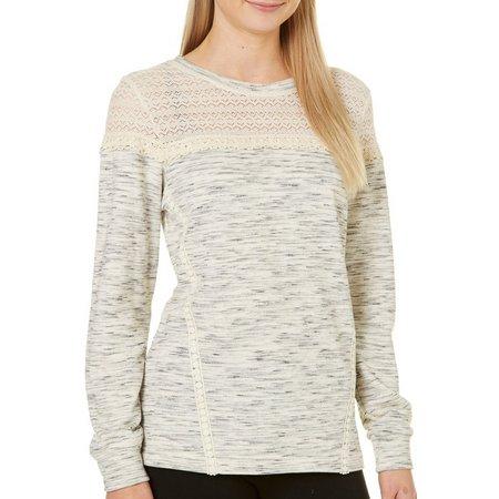 Dept 222 Petite Crochet Yoke Sweatshirt