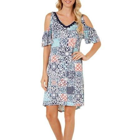 Dept 222 Petite Cold Shoulder Patchwork Dress