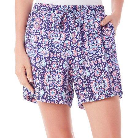 Dept 222 Petite Fade To Blue Challis Shorts