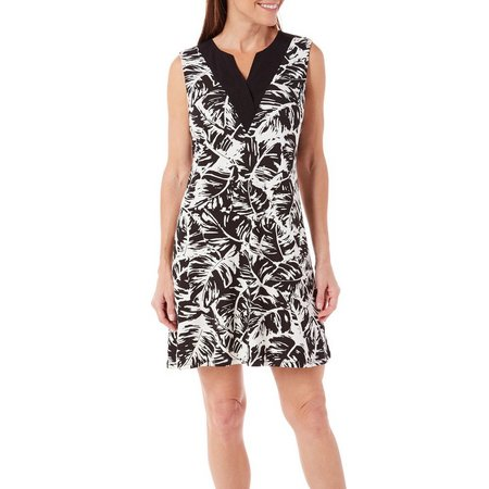 Dept 222 Petite Caribbean Dreams Gauze Leaf Dress