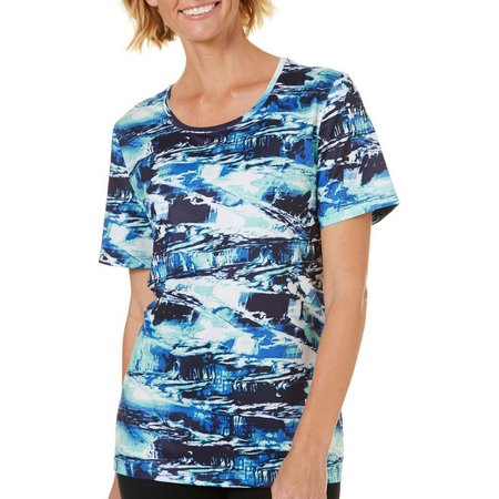 Coral Bay Petite Abstract Geo Print Short Sleeve