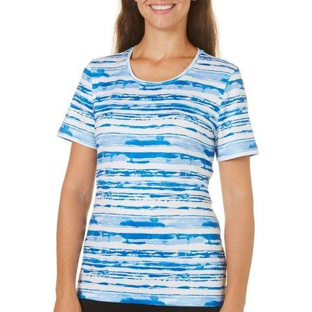 Coral Bay Petite Energy Watercolor Stripe Print Top