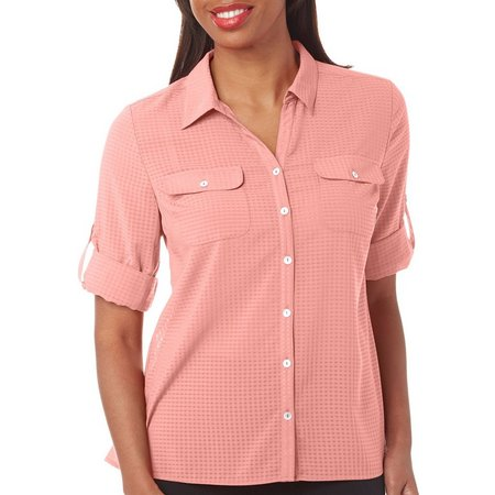 Coral Bay Petite Windowpane Button Front Shirt