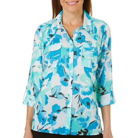 Coral Bay Petite Folkloric Roll Tab Sleeve Top
