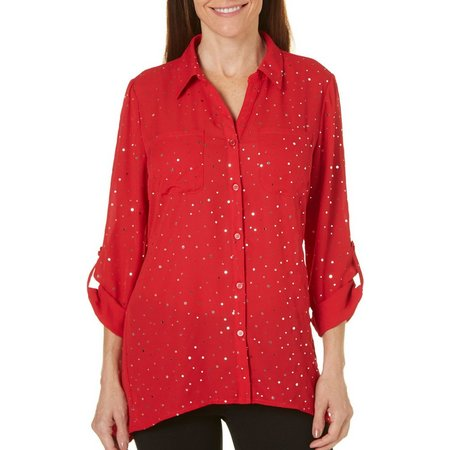 Coral Bay Petite Metallic Disco Dot Button Top