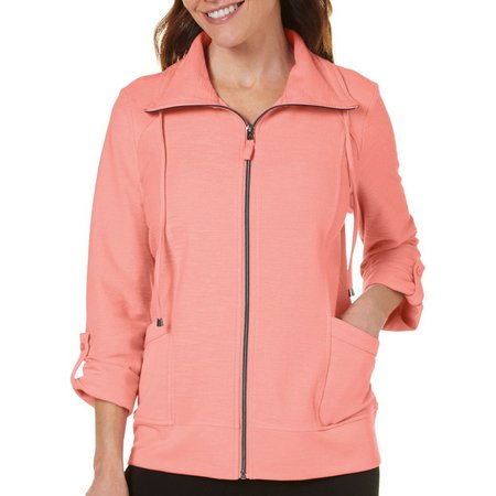 Coral Bay Petite Grommet Pockets Zip Up Jacket