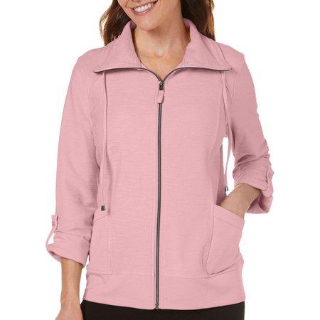 Coral Bay Petite Slub Knit Front Zip Jacket