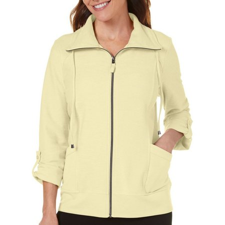 Coral Bay Petite Slub Knit Front Zip Jacket