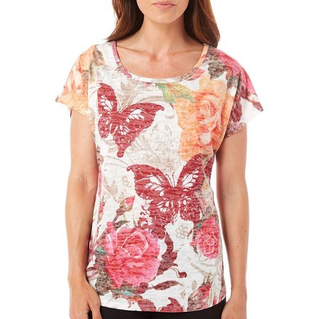 Coral Bay Petite Butterfly Burnout Top