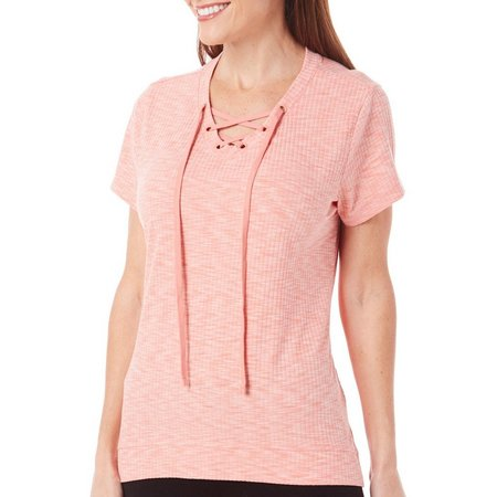 Coral Bay Petite Heathered Ribbed Lace Up Top