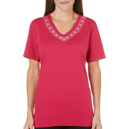Coral Bay Petite Precious Oddities Embroidered Top
