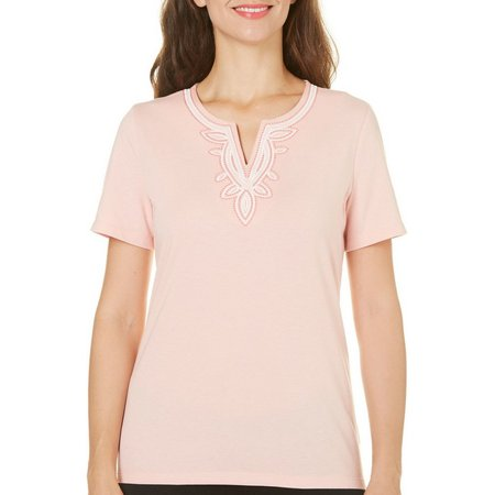 Coral Bay Petite Escape Classic Embroidered Top