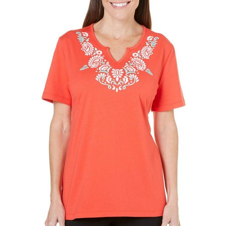 Coral Bay Petite Havana Paisley Embroidered Top