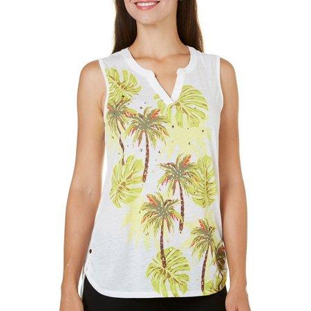 Coral Bay Petite Havana Palm Print Tank Top