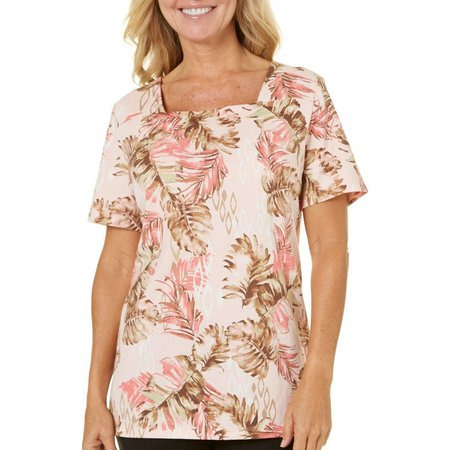 Coral Bay Petite Leaf Diamond Print Top