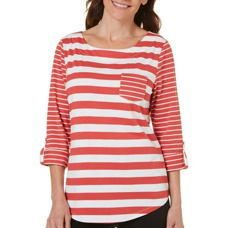 Coral Bay Petite Cedar Key Striped Print Top