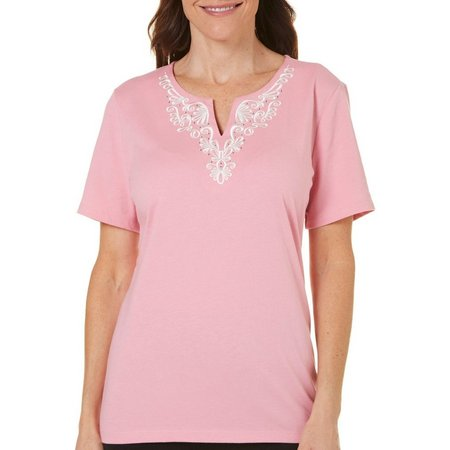 Coral Bay Petite With Love Embroidered Split Neck