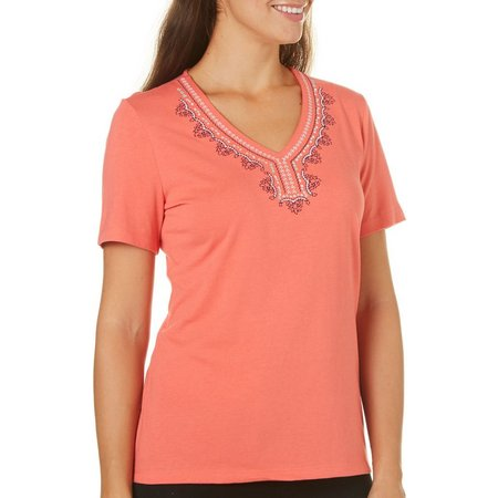 Coral Bay Petite Embroidered Sundial Top
