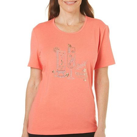 Coral Bay Petite Embellished Tropical Drinks Top