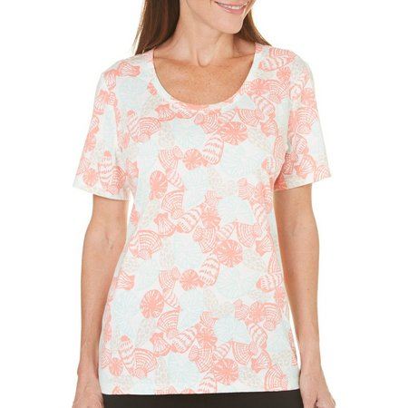 Coral Bay Petite Natural Coast Seashell Print Top