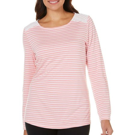 Coral Bay Energy Petite Lace Overlay Long Sleeve