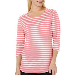 New! Coral Bay Petite Scoop Neck Striped Top
