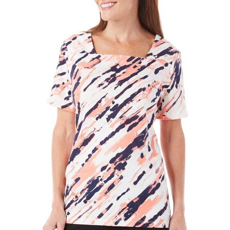 Coral Bay Petite Natural Coast Scratchy Print Top