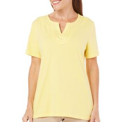 Coral Bay Petite Yacht Club Embellished Neck Top