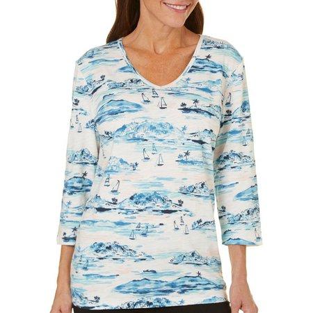 Coral Bay Petite Ocean Drive Scenic Print T-Shirt