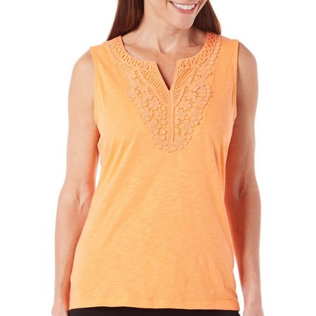 Coral Bay Petites Crochet Solid Tank Top