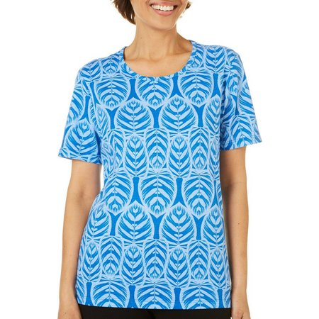Coral Bay Petite Blue Leaf Round Neck Top