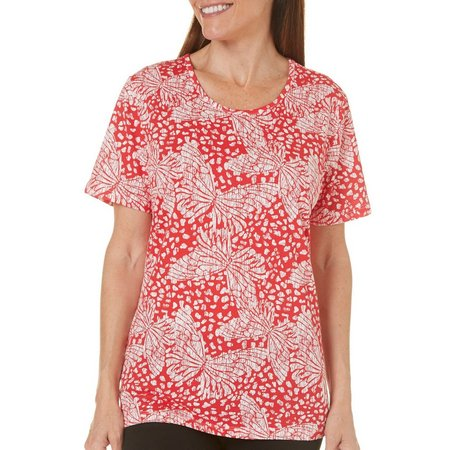 Coral Bay Petite Ocean Drive Butterfly Print T-Shirt