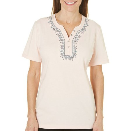 Coral Bay Petite Ocean Drive Embroidered Front Top